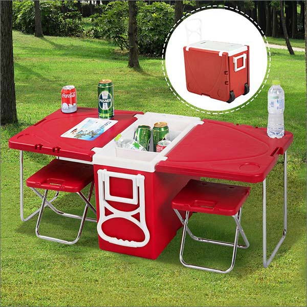Multi Function Rolling Cooler Picnic Camping Outdoor Table & 2 Chairs