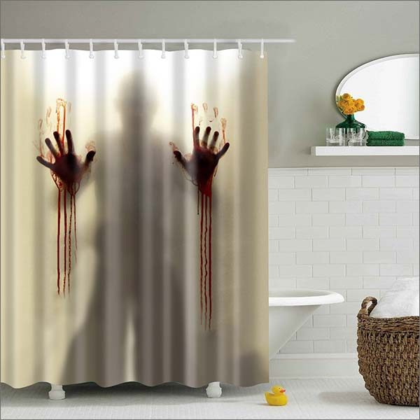 Mysterious Scary And Funny Man Silhouette Shadow 60inhes X 72inhes  Polyester Waterproof Shower Curtain Bathroom