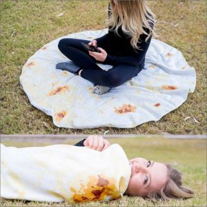 Burrito Blanket, Be a Giant Human Burrito, Tortilla or Taco, Soft & Plush Giant Round Beach Towel