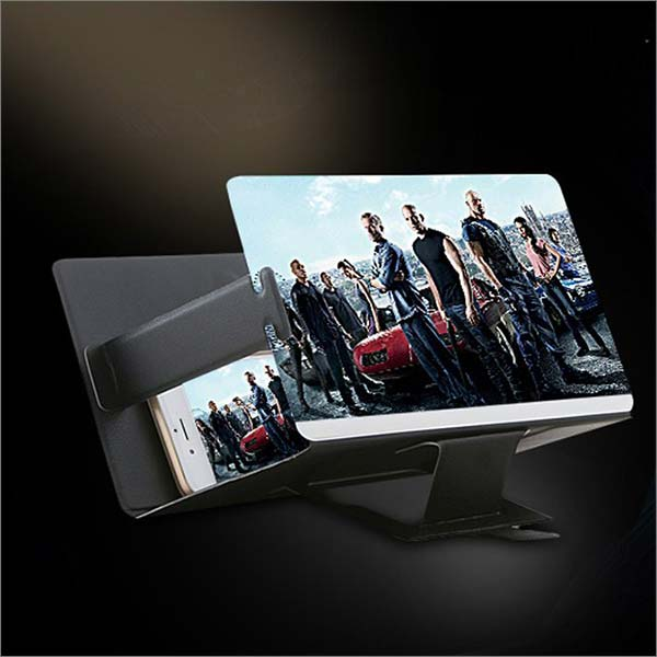 Canyoze Screen Magnifier 3d Smart Mobile Phone Movies Amplifier with Pu Leather Foldable Holder Stand for Any Smartphone