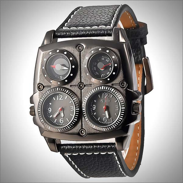 Men's Dual Time Zones Large Black Watch with Compass, Thermometer, Big 5cm Multi-Function Dial