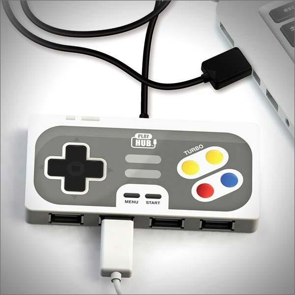 Super Hub PlayHub 4 Port USB 2.0 Hub Retro Game Controller Style USB Hub