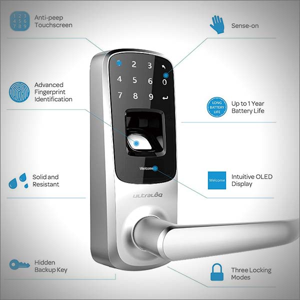 Ultraloq UL3 Fingerprint - Touchscreen Keyless Smart Lever Door Lock